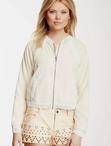 NWT-Free People Ivory Crochet Trim Zip-up Jacket